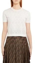 Fendi Logo Short Sleeve Sweater