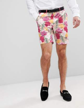 Asos Design Wedding Skinny Smart Shorts In Pink Floral Print
