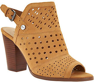 Marc Fisher Perforated Suede Peep Toe Booties -Casha