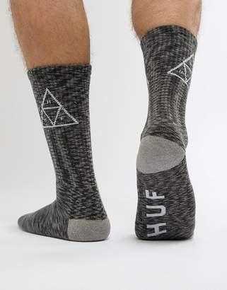 HUF Triple Triangle Socks In Black Melange