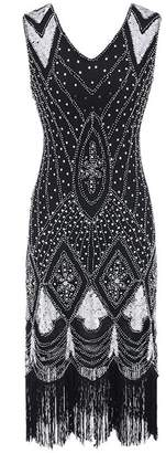 M MAYEVER Women Cocktail Roaring 20s Party Gatsby Sequin Art Deco Flapper Dress (S, )