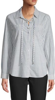 Karl Lagerfeld Paris Stripe Lace-Up Tunic