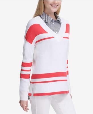 Calvin Klein Striped V-Neck Sweater