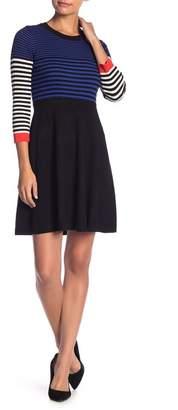 Eliza J Half Sleeve Fit & Flare Striped Dress (Petite)