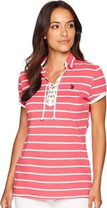 U.S. Polo Assn. Women's Laceup Striped Pique Shirt