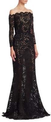 Oscar de la Renta Illusion Off-The-Shoulder Mermaid Gown