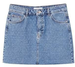 MANGO Crytals denim skirt