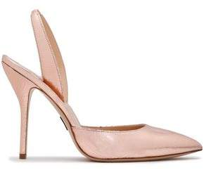 Paul Andrew Metallic Cracked-leather Slingback Pumps