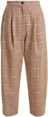 High-rise wool-blend tweed trousers