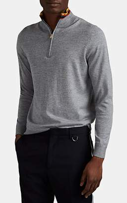 Paul Smith Men's Stripe-Trimmed Fine-Gauge Wool Quarter-Zip Sweater - Gray