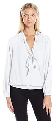 NY Collection Women's Solid Long Sleeve Tie Neck Wrap Blouse