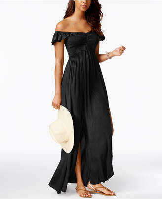 Raviya Off-The-Shoulder Ruffled Maxi Cover-Up Women's Swimsuit $54 thestylecure.com