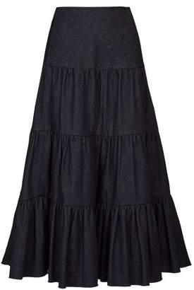 Chloé Tiered Raw Hem Denim Midi Skirt - Womens - Dark Denim