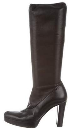 Celine Leather Platform Knee-High Boots