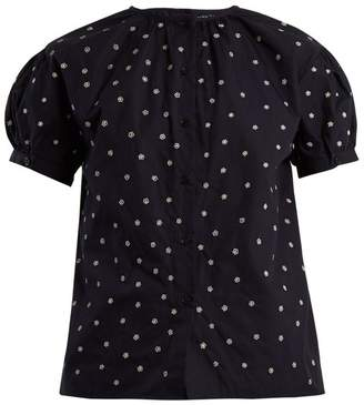 Jupe By Jackie - Elbrus Floral Embroidered Cotton Top - Womens - Navy White