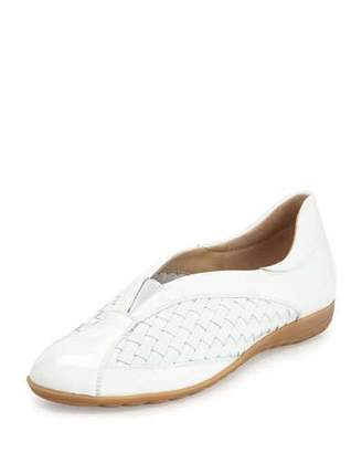 Sesto Meucci Barabel Woven Leather Slip-On Sneaker, White $345 thestylecure.com