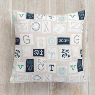 ABC Stamps Square Pillow