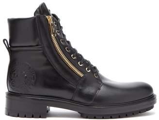 Balmain Logo Embellished Leather Biker Boots - Mens - Black