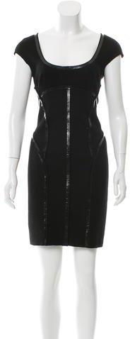 pradaPrada Vinyl-Trimmed Wool Dress