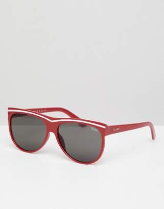 Quay Hollywood nights stripe cat eye sunglasses