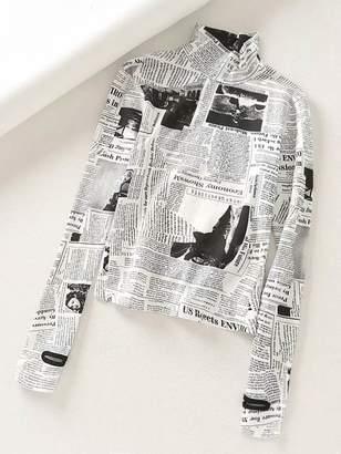 Shein Newspaper Print Stand Collar Tee