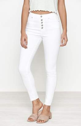 PacSun Bold White Exposed Button High Rise Jeggings