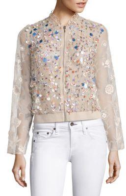 Elie Tahari Zarinah Embellished Silk Organza Jacket $498 thestylecure.com
