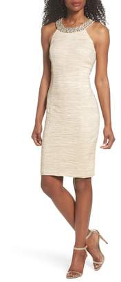 Eliza J Embellished Crushed Taffeta Sheath Dress