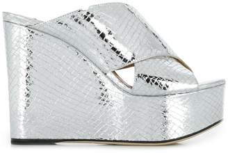 Sergio Rossi metallic wedge mules