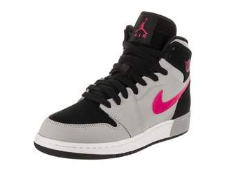 Jordan Nike Girl's Air 1 Retro High GS Basketball Shoe Black/Deadly Pink-Wolf Grey-White 6Y
