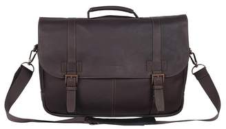 Kenneth Cole Double Gusset Flapover Colombian Leather Laptop Bag