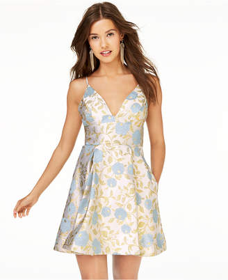 B. Darlin Juniors' Metallic Floral Jacquard Fit & Flare Dress