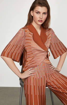 BCBGMAXAZRIA Sunburst Fan Wrap Top