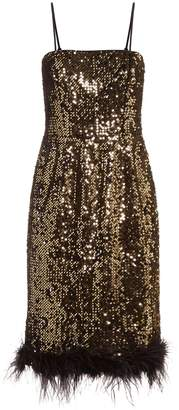 Milly Elle Sequin Feather Dress