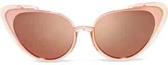 Linda Farrow Cat-eye Acetate And Rose Gold-tone Mirrored Sunglasses