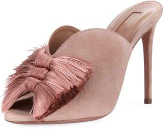 Aquazzura Lotus Blossom Tassel-Trim Mule Sandals