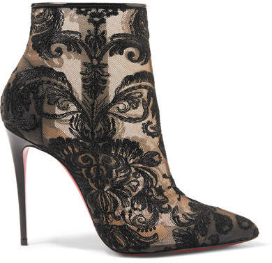 Christian Louboutin - Gipsy 100 Guipure Lace Ankle Boots - Black