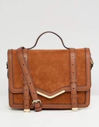 Asos Design DESIGN v-bar structured satchel bag