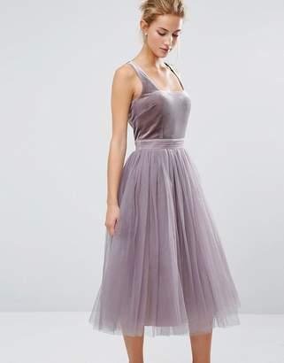Little Mistress Tulle Midi Dress with Velvet Bodice $91 thestylecure.com