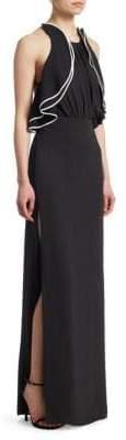 Halston Ruffle Halter Gown
