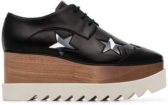 Stella McCartney black Elyse 80 faux leather star embellished flatform brogues