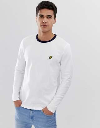 Lyle & Scott long sleeve logo ringer t-shirt in white