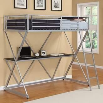 LOFT Dorel DHP Metal Bed Over Desk Workstation Twin Size, Silver