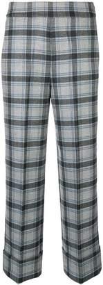 Incotex checkered high waist trousers