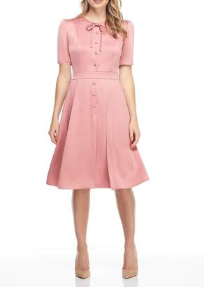 Gal Meets Glam Elbow Sleeve Button & Bow Dress