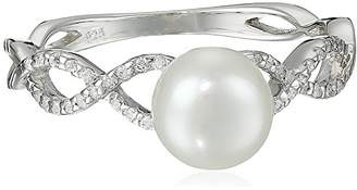 Bella Pearl Fancy Braided Cubic Zirconia and Pearl Ring