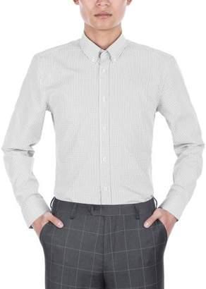 Verno Mens Slim Fit Long Sleeve Black and White Plaid Dress Shirt