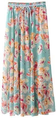 Evedaily Women's Bow Tie Floral Long Summer Beach Chiffon High Waist Maxi Skirt Size L