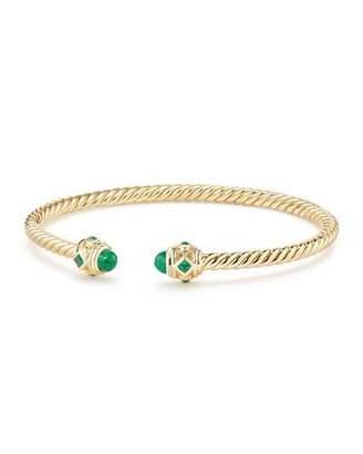 David Yurman 18k Gold Renaissance CableSpira Bangle Bracelet w/ Emeralds, Size M