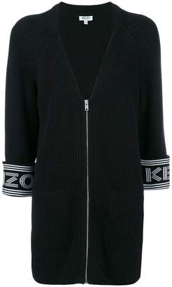 Kenzo logo cuff knitted cardi-coat